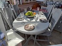 Stunning, up cycled vintage 4 ft 10, table and 4 x large chairs in chalk dove grey