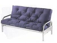 Double Metal Futon Sofa Bed Frame and Blue Mattress for £85.00