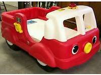 Toddler/infant fire engine truck bed