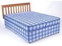 Brand New Double Comfy Bed set in Blue fabric Padded Spring FREE delivery