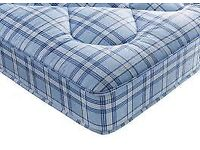 Brand New Comfy Double 4ft6 Quilted Comfy Blue check Mattress FREE fast delivery