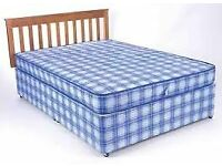 Brand New Comfy Double Bed set in Blue Fabric Padded Spring FREE delivery
