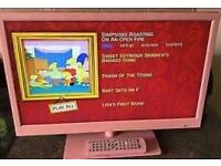 """21.5"""" Pink Tv with HD and DVD player built in"""