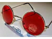 Vintage Round sunglasses John lennon style red gold