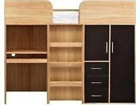 Mid sleeper single bed. Incl wardrobe, cupboard, 3 draws and a desk
