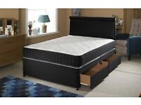 KINGSIZE 5 FT BED WITH MEMORY FOAM MATTRESS AND DRAWERS WITH HB