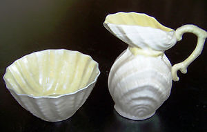 Belleek Cream & Sugar Double Shell