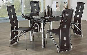 BRAND NEW GLASS TOP AND METAL DINETTE TABLE SET - SALE 30% OFF
