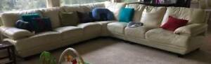 3 x 3 Seater Modular Cream Leather Corner Sofa
