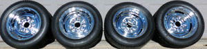 Chevy 14 inch  Chrome Reverse Rims and Tires