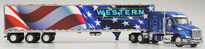 Dcp Peterbilt 579 Mid Roof Special Western American Patriot Tri Van Trailer Die