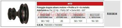 Polea Doble Árbol Motor MTD Tractor Podadora Cortacésped 12hp R303834
