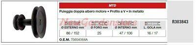 Polea Doble Árbol Motor MTD Tractor Podadora Cortacésped R303843