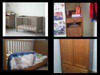 Ikea Cot bed (with mattress) + wardrobe + storage unit baby room furniture