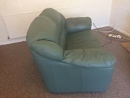 leather green 2 seater sofa, very good condition