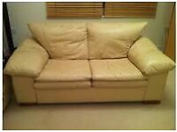 Cream leather 3 and 2 seater sofa for sale