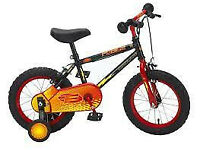 Boys 14in wheel Apollo bike with stabilisers