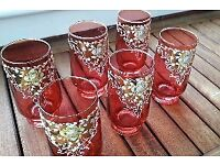 6 beautiful old red glass tumblers / glasses