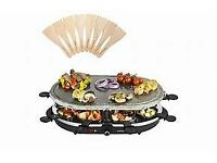 Large Oval Stone Raclette with 8 spatula dishes / servers