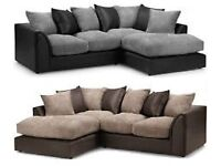 =Same Day Delivery=*New Arabian Chenille Fabric Corner/3+2 seater Sofa in bLACK & GREY/BROWN & BEIGE