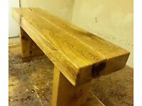 2 beam chunky garden sleeper bench