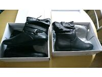 TWO PAIRS OF WOMEN'S BRAND NEW BLACK ANKLE BOOTS SIZE 7 £10 FOR BOTH