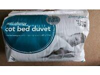 New cot bed duvet 9 tog anti-allergy 120 cm x 150 cm. Never used.