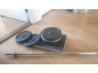 60kg cast iron weights and 5 foot barbell