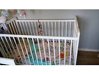 White cot excellent condition with quality foam mattress