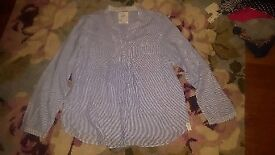 Ladies Next blue and white stripe tunic blouse size 18