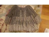 Ladies grey lace tunic style top size large