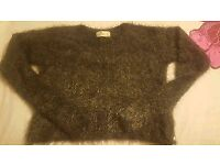 Hollister ladies short grey fluffy jumper