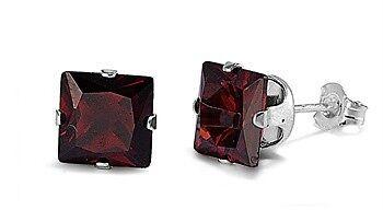 Sterling Silver Garnet CZ Stud Earrings Princess Cut Square Fine 925 Jewelry