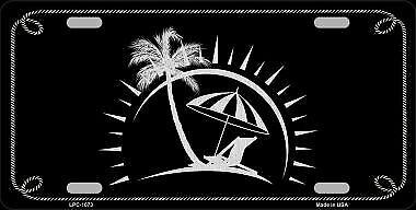 Beach Design Black Brushed Chrome Novelty Metal License Plate LPC-1073 - Beach Novelties