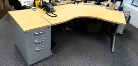 Steelcase beech office desks with matching desk
