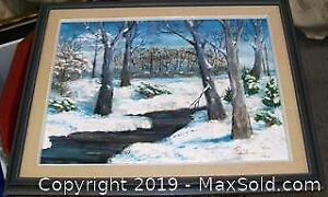 Winterscape Canadian Oil Painting On Board Signed JR 76
