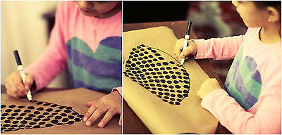 Trace onto brown paper and draw designs.
