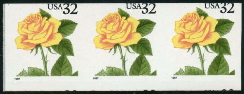"""#3054a """"yellow Rose"""" Strip Of 3 Imperf And Miscut Major Errors Cv $127 Bt9547"""