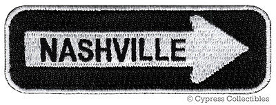 NASHVILLE ONE-WAY SIGN EMBROIDERED IRON-ON PATCH applique TENNESSEE SOUVENIR NEW