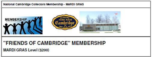 "NCC ""Friends of Cambridge"" Membership - Mardi Gras Level"