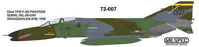 MILSPEC DECAL, MS 72-007, 1/72 SCALE, F-4G PHANTOM, 52nd TFW SPANGDAHLM AFB