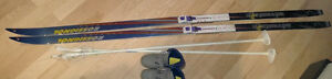 190cm Rossignol cross-country skis, size 5.5 boots, poles