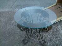 Old steel thick glass table