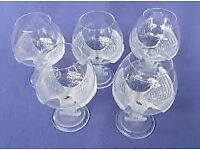 NAPOLEON CRYSTAL BRANDY GLASS. SEVRES CRYSTAL BALLOON with FROSTED EAGLE STEM