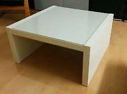 White side table with glass top