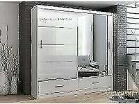 DESIGNER FURNITURE-MARSYLIA 2 SLIDING DOORS MIRROR WARDROBE IN 208CM SIZE-opt chest of drawers