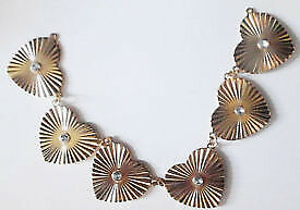New Sew On Gold Toned Jewellery Hearts Ornate Neckline Decolletage Trim Sewing Applique.