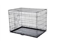 large dog cage 2 doors all folds down flat 36 inch long in very good condition
