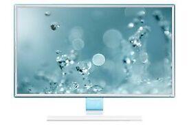 "27"" white Samsung monitor slim hd can deliver"