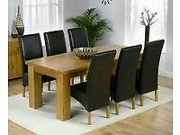 New still packed Oak wood Dinning Table (Tote) and 6 chairs (Havana), picked from BHS, Dinning table